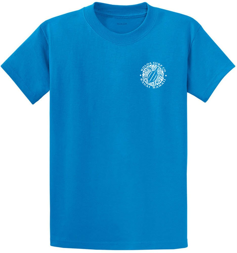 Joe's USA Koloa Surf Hawaiian Honu Turtle Logo Heavyweight Cotton T-Shirt-Saphire/w-6XL