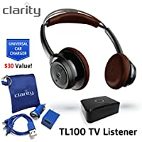Clarity TL100 Wireless Bluetooth Over-Ear Sound Amplifying Headphones Headset For Hearing Impaired Solo TV Listening with Clarity Home Car Charger
