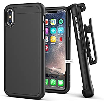 iPhone X Belt Case w/ Screen Protector, Encased [SlimShield Series] Protective Grip Case with Holster Clip for Apple iPhoneX (2017 Release) Smooth Black