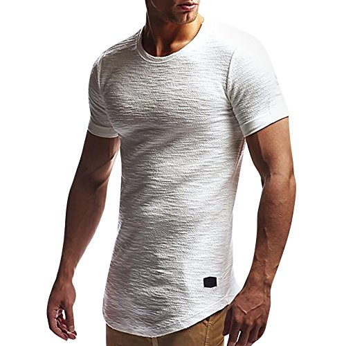 (Men's Summer Shirts, JOYFEEL  Pure Color Cotton Casual Blouse Crewneck Slim Fit Muscle Workout Sport Tops Tee White)