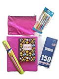 Girls Back to School Supplies Bundle of 6 Includes - 1 3 Ring Binder, Student Calendar, Pink Glitter Pencil Bag, College Ruled Paper Pack of 4 Designer Mechanical Pencils and Ruler