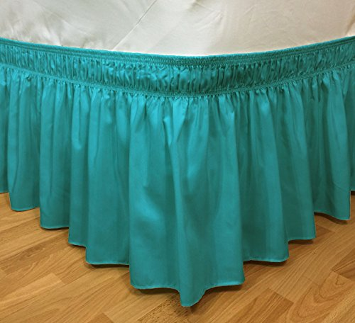 CT DISCOUNT STORE Elastic Ruffle Bed Skirt Easy Warp Around With Bed Skirt Pins Included (Twin/full, Treasure Turquoise)