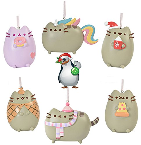 Gund Pusheen the Cat Christmas Holiday Set of 6 Ornaments with Penguin ()
