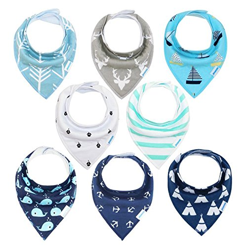 YOOFOSS Baby Bandana Drool Bibs 8 Pack Set for Teething and Drooling, Extra Absorbent 100% Organic Cotton,Soft and Absorbent Bibs for Boys Girls