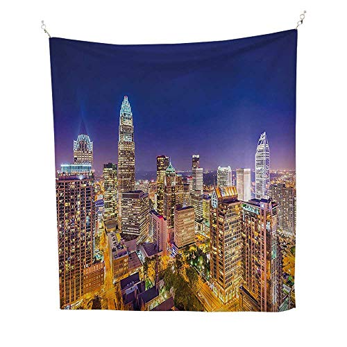 - Tapestry Wall Hanging (40W x 60L INCH) Home Decorations Bedroom Dorm Modern Decor Panoramic North Carolina Uptown Sky at Night Cityscape Luminous Town Picture Indigo Orange.