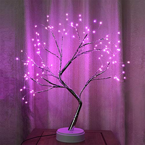 (108 LED Tree Light USB Battery-Operated Copper Wire Bonsai Tree Light With Touch Switch Home Decoration Night Light)