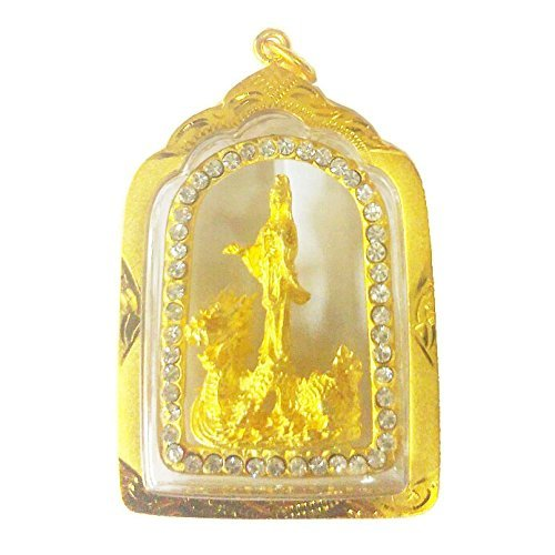 (Pendant Feng Shui Quan Yin On Dragon Chinese Buddhist Jewelry Amulet Gold14k for Good Fortune and Success)