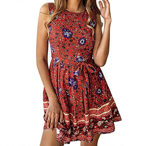 Sunhusing Women's Spring Summer Casual Small Floral Print Round Neck Sleeveless Zip Woven Belt Dress Red ()