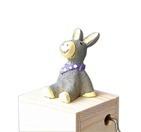 Adorable de madera pequeño burro música decoración diseño cajas de música