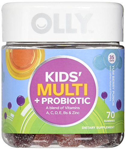 OLLY Kids Multivitamin and Probiotic Gummy Supplement, with Zinc & PROBIOTICS; Yum Berry Punch; 70 count (35 day supply) by Olly