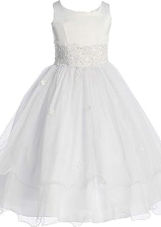 6ca0b7645 Amazon.com  Flower Girl Cap Sleeved Big Girls  White Dress First ...