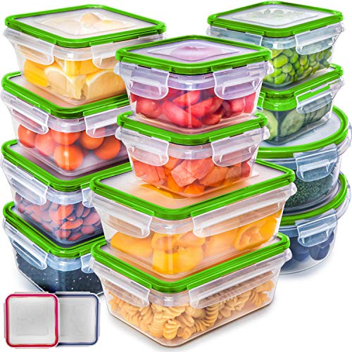 Fullstar (12 Pack) Food Storage Containers with Lids - Green Plastic Food Containers with Lids - Plastic Containers with Lids - Airtight Leak Proof Easy Snap Lock and BPA-Free Plastic Container Set (Plastic Storage Containers Green)