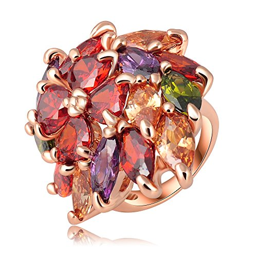 18k Gold Plated Flower Leaves Multi-color Zirconia Crystal Az0271r Ring (Sizes 8)