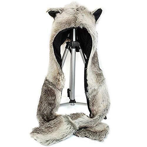 3 in 1 Function Brown Wolf Faux Fur Full Animal Hood Hat Winter Warmer Cap New (Animal Hats For Women)