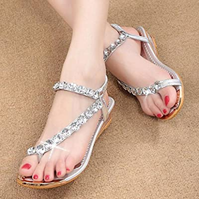 HTHJSCO Women Sandals Bling Rhinestone Flats Sandals Fashion Flip Flops Shoes