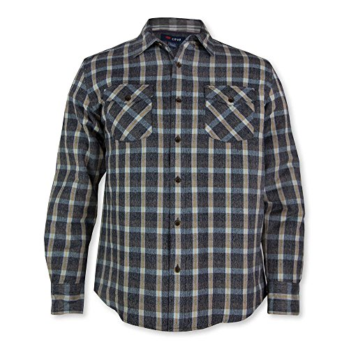 Bay Flannel Shirt - Cova Emerald Bay Charcoal Mens Woven Shirt X-Large