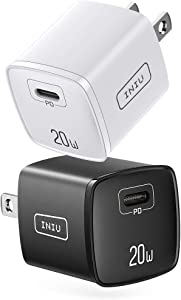 【2 Pack】 USB C Charger, INIU Smallest 20W PD Fast Charge Wall Charger, Quick Charge Power Adapter Plug Compatible with iPhone 12 Mini 11 Pro SE XR XS X 8 Samsung S20 Note 20 iPad AirPods Magsafe etc.