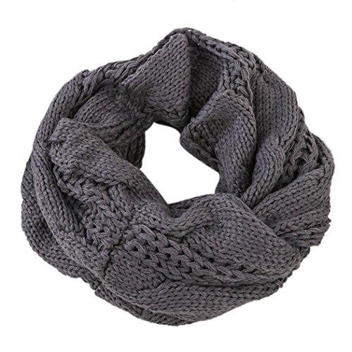 HONEYJOY Womens Thick Ribbed Knit Winter Infinity Circle Loop Scarf ( Grey)