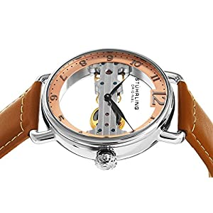 Stuhrling Original Men's 976.02 Bridge Mechanical Hand Wind Brown Leather Strap Watch
