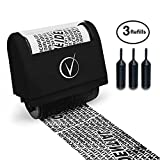 Vantamo Identity Theft Protection Roller Stamp Wide Kit, Including 3-Pack Refills - 2017 Design for Secure Confidential ID Blackout Security, Anti Theft and Privacy Safety (Classy Black)