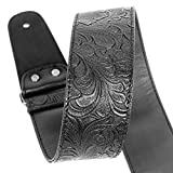 Guitar Strap, Printed Leather Guitar Strap PU Leather Western Vintage 60's Retro Guitar Strap with Genuine Leather Ends for Electric Bass Guitar,Wide Adjustment Range, with Tie,Include 2 Picks