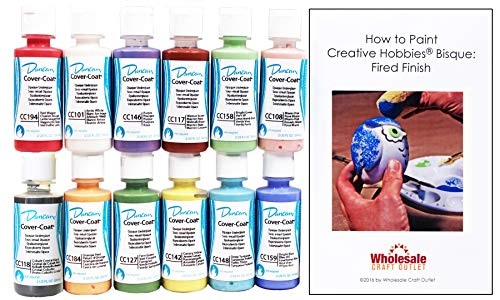 Duncan CCKIT-1 Cover-Coat Opaque Underglaze Paint Set, 12 Best Selling Colors in 2 Ounce Bottles with Free How To Paint Ceramics Book