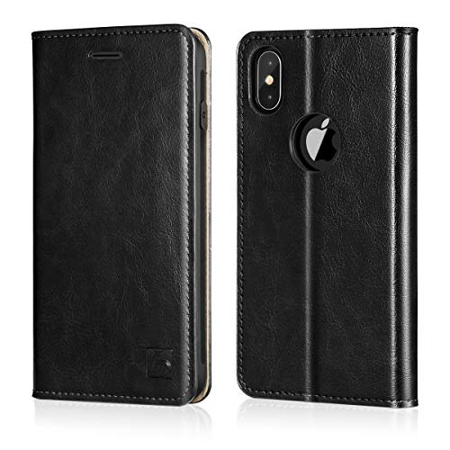 Belemay iPhone X Wallet Case, iPhone 10 Case, Genuine Cowhide Leather Slim Fit Flip Case Folio Cover [Durable Soft TPU Inner Case] Card Holder Slots, Kickstand, Cash Pockets Compatible iPhone X, Black
