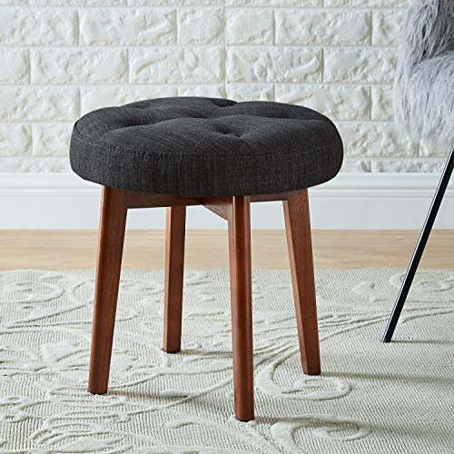 WEMART Linen Tufted Round Ottoman with Solid Wood Leg, Upholstered Padded Stool - Dark Gray