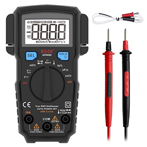 BSIDE True RMS Digital Multimeter Auto-Ranging 6000 Counts Electricians Voltmeter Temperature Capacitance Frequency V-Alert Multi Meter with Detachable Protective Case