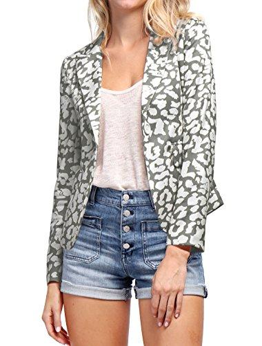 Peaked Lapel Jacket (Allegra K Women's Peaked Lapel One Button Closed Leopard Prints Blazer L Grey)