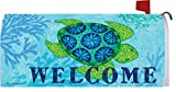Sea Turtle - Mailbox Makover Cover - Vinyl witn Magnetic Strips for Steel Standard Rural Mailbox - Copyright, Licensed and Trademarked by Custom Decor Inc.