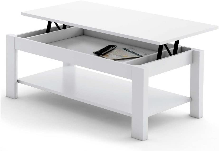 MESA DE CENTRO ELEVABLE HIGH QUALITY. BLANCA: Amazon.es: Hogar