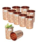 Set Of 10 - Prisha India Craft  Copper Cup Water Tumbler - Handmade Water Glasses - Traveler's Copper Mug For Ayurveda Benefits - Christmas Gift Item