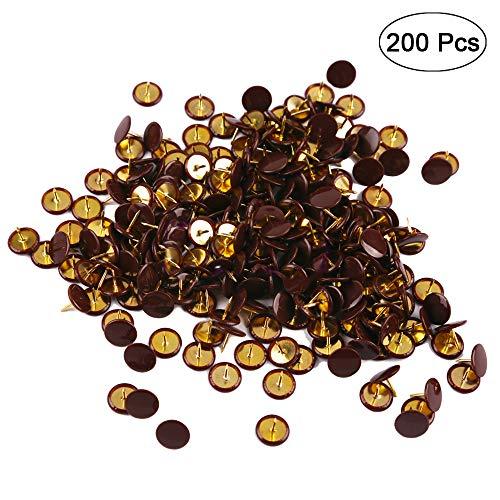 Ornerx Flat Push Pins Decorative Thumbtacks for Cork Brown 200 Count