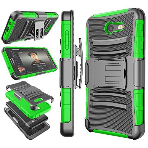 Tekcoo for Galaxy J7 Sky Pro/J7 Prime Case, for Galaxy Halo/J7 Perx/J7 V Holster Clip, [Hoplite] Shock Absorbing [Green] Locking Belt Heavy Full Body Kickstand Carrying Cover for Samsung J7 2017