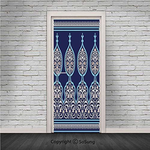 Moroccan Door Wall Mural Wallpaper Stickers,Bohemian Style Ancient Middle Eastern Turkish Figures Mystical Image Print,Vinyl Removable 3D Decals 30.4x78.7/2 Pieces set,for Home Decor Teal Royal Blue