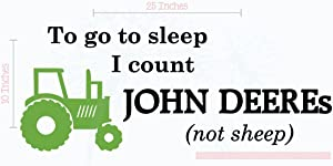 Bedroom Décor Count John Deeres Not Sheep Boy Wall Decals 2-Color 25x10-Inch Blk/Lime