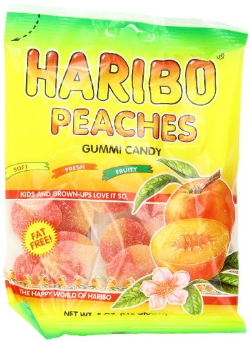 Haribo Gummi Candy, Peaches, 5-Ounce Bags (Pack of 12) (Gummy Peach Sour)