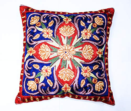 ZARMIN BEDDING ESSENTIALS Pillow Cover Elite Limited Collection of Kashmiri Hand Crafted Square Decorative 16 x 16 inch Cushion Covers for Indoor use on Bed or Sofa (ART-12 PICHOLA). Set of Two.