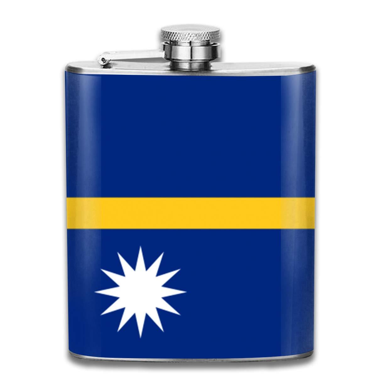 Ejdkdo Nauru Flag Stainless Steel Flask Classic 7OZ Hip Flask Pocket Flagon Whiskey Wine Flagon Mug