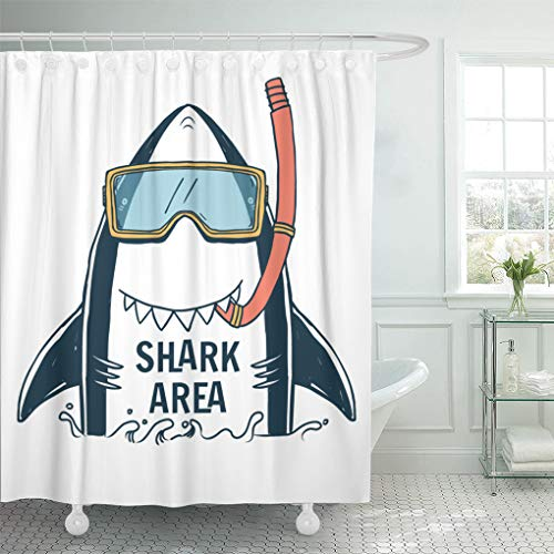 Emvency Shower Curtain Set with Hooks Polyester Fabric Blue Graphic Shark Typo and Summer Boy Kid Cute Tee Resistant Waterproof Adjustable 60 x 72 Inches for -