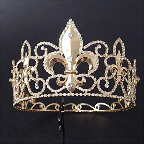 FUMUD Men's Full King's Crown Imperial Medieval Fleur-de-lis Crown Gold Rhinestone Tiara (Crowns For Kings)