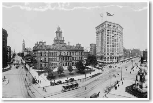 Downtown Detroit 1899 - NEW Vintage Travel Poster