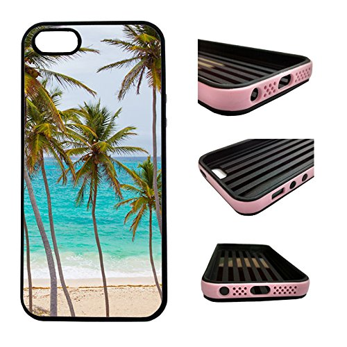 CorpCase iPhone SE / 5 / 5S / 5SE Case - Tropical palm tree on beach/ Hybrid ULTRA Protective iphone 5/5S/5SE Case With Great Style - Features Unique 2-in-1 Hybrid protection with TPU+Plastic (Iphone 5s Palm Tree Case)