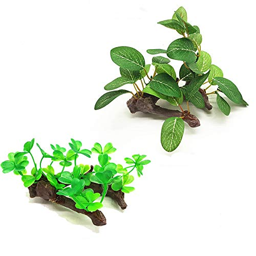 (PIVBY 2 Pack Plastic Resin Driftwood Aquarium Plant Fish Tank Terrarium Decoration with Life-Like Vine Leaf & Attractive for Your Tank: Non- Toxic & Safe for All Fish & Pets)