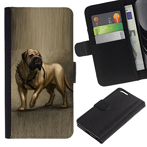 LASTONE PHONE CASE / Luxe Cuir Portefeuille Housse Fente pour Carte Coque Flip Étui de Protection pour Apple Iphone 6 PLUS 5.5 / English Mastiff Painting Art Dog Canine