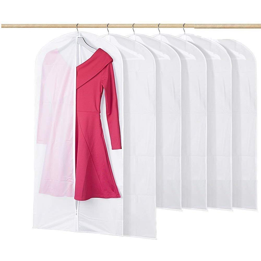 HANSHI Translucent Clothing Dustproof Cover Wardrobe Hanging Storage Bag Garment Rack Cover Dustproof Moisture Proof Moth Proof Protector with Magic Tape and Zipper