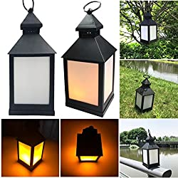 XEDUO Flickering LED Light, Waterproof Outdoor Hanging LED Light Flickering Lamp Garden Wall Carriage Home Decor (Black)