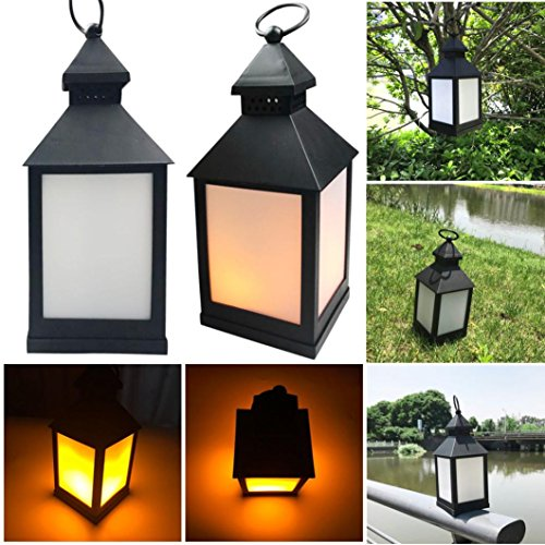 XEDUO Flickering LED Light, Waterproof Outdoor Hanging LED Light Flickering Lamp Garden Wall Carriage Home Decor (Black) ()