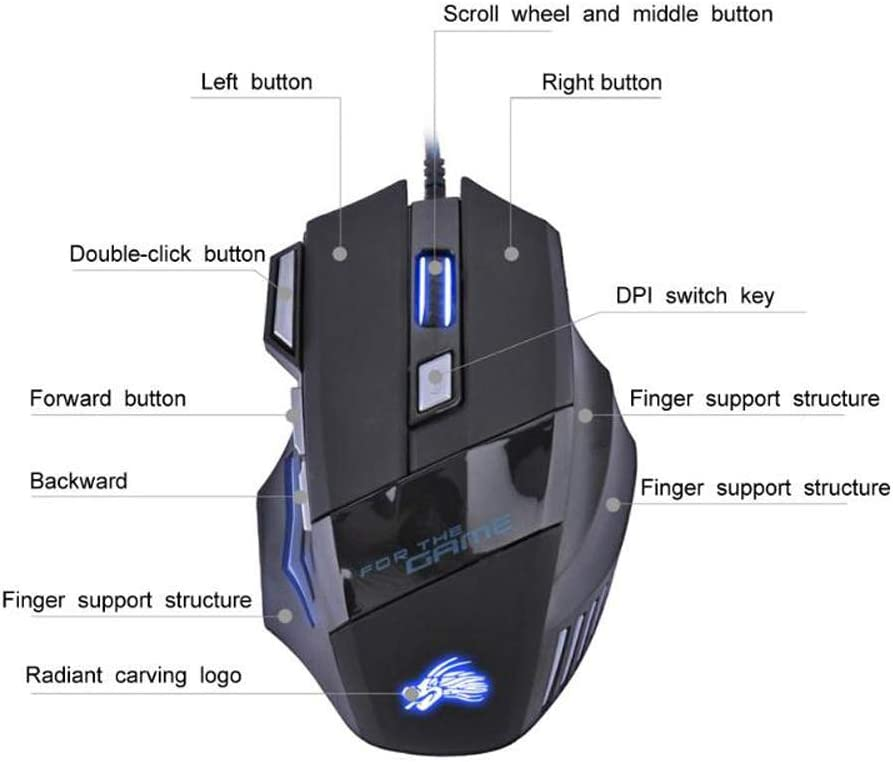 JAKOLY 5500DPI LED Optical Gaming Mouse USB Wired Gamer Mouse 7 Buttons Gamer Computer Mice for Laptop Mice PC